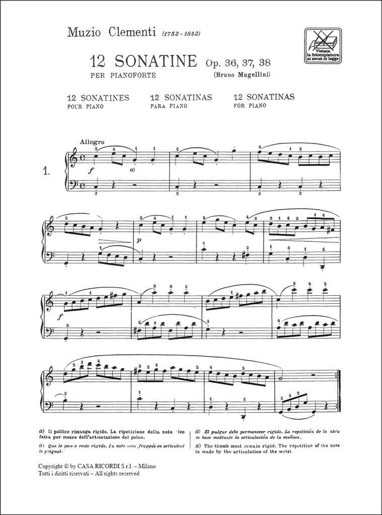 Clementi, 12 Sonatine Op. 36, 37, 38 ER623